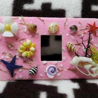 粉色立體貝殼燈開關罩