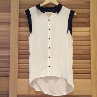 Black And White Sleeveless Shirt