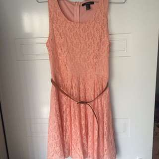 Forever 21 Peach Floral Lace Dress