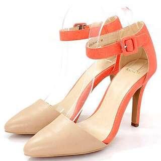 【全新】日牌Randa 繫帶撞色尖頭高跟鞋