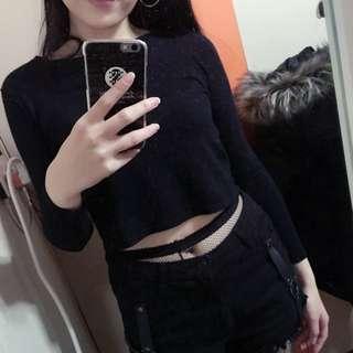 黑色 短版 上衣