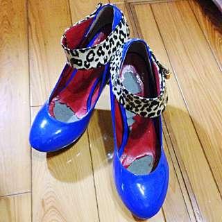🚚 [二手]藍色豹紋高跟鞋