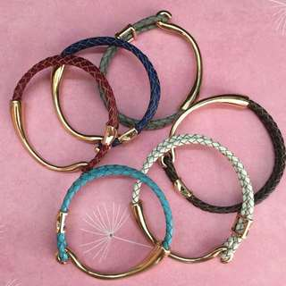 Customized Braided Real Leather Golden Plated Bracelets
