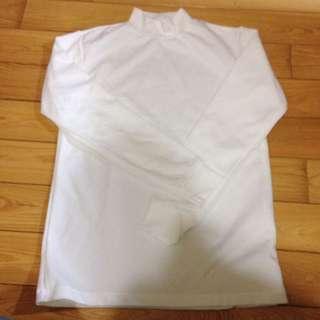 🚚 [全新]高領長袖白色上衣