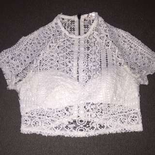 """""""Who Am I"""" The Label White Lace/ See Through Crop Top."""