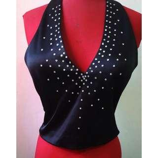 Warehouse sequinned vest-like halter neck top