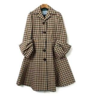 Prada 綠黃格個性 大衣 外套