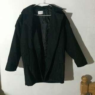 韓版 開襟外套黑色 大衣