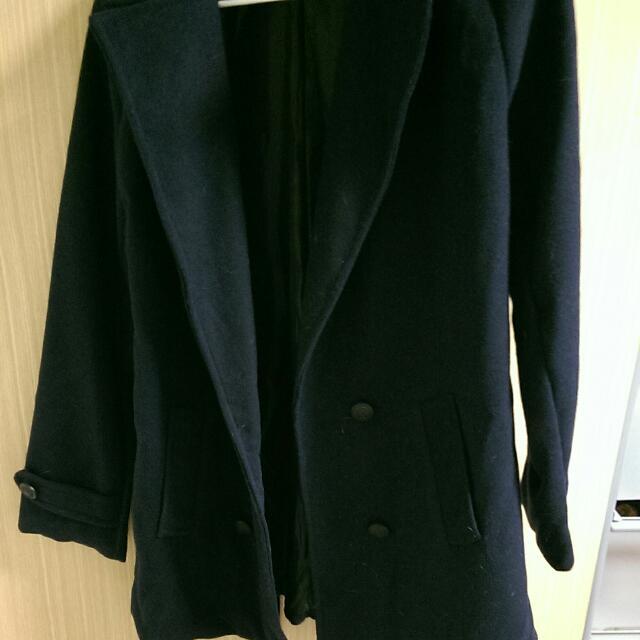 全新深藍排釦短大衣