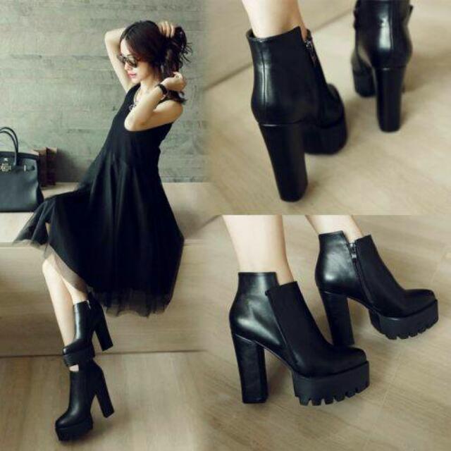 黑色高跟裸靴 踝靴 短靴