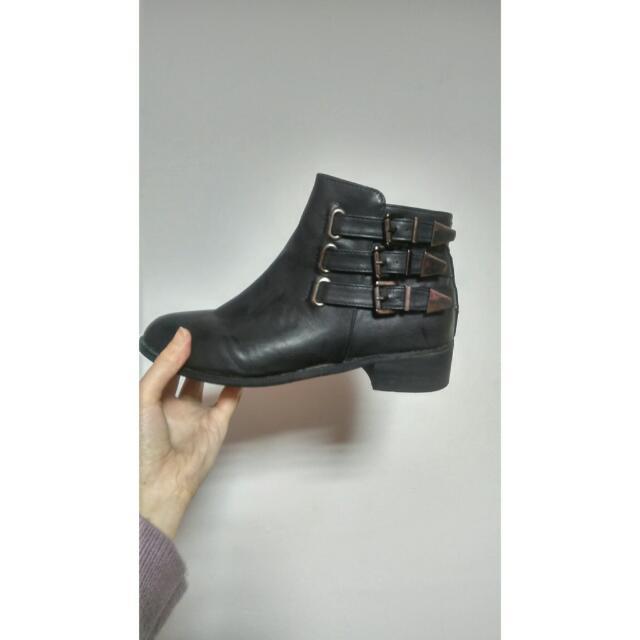 正韓 三帶 扣環 短靴38(24cm)