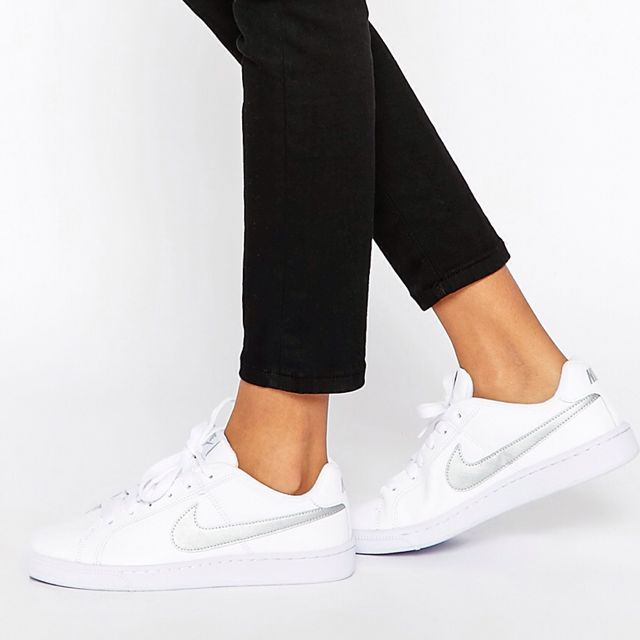 d04a5dbf1 Authentic Nike Court Royale Trainers In Silver White, Women's ...