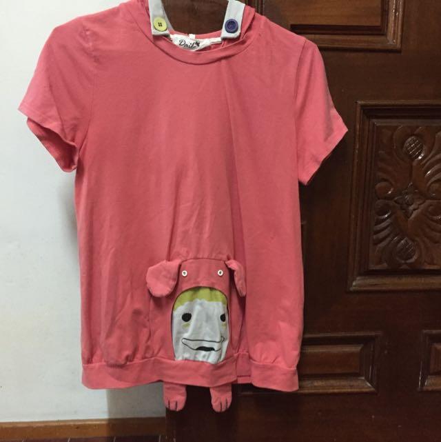 Dailo 粉色連帽T