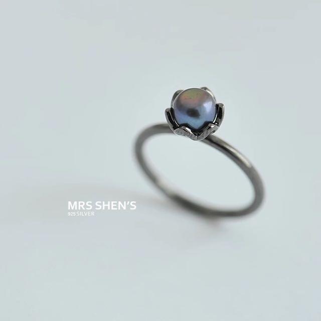 S172 925純銀 復古正圓黑珍珠戒指