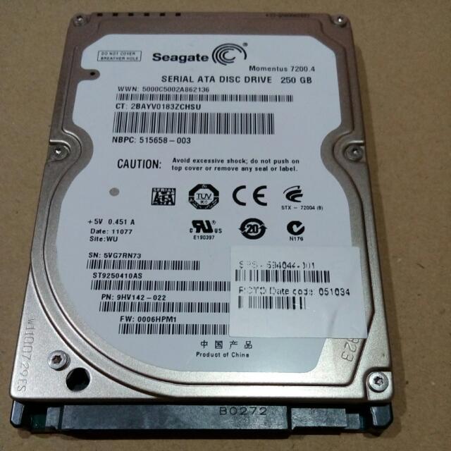 (SECOND) Harddisk Internal Seagate 250GB