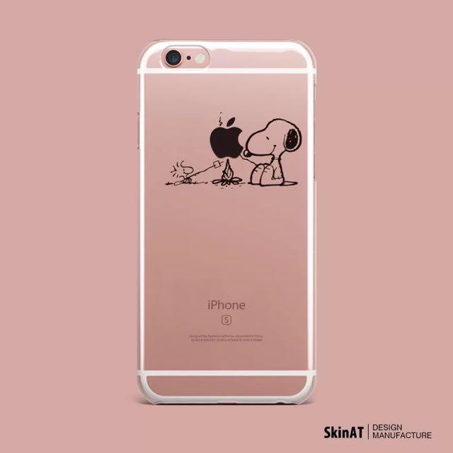 Snoopy 透明 趣味 殼 烤蘋果 Iphone6