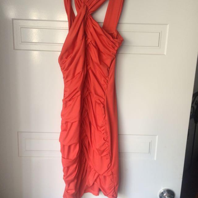 Tight Wrap Orange Dress Small
