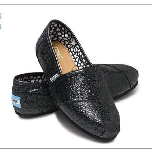 【全新】美國TOMS 黑色亮片懶人鞋