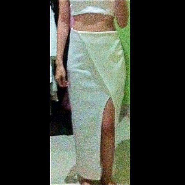 White Slit Long Skirt