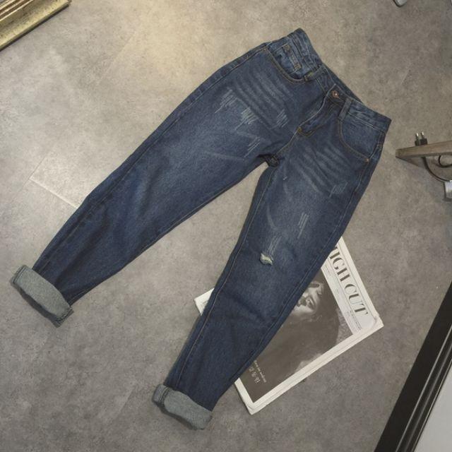 002預購。百搭基本款中腰藍色男朋友牛仔褲