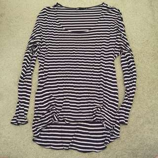 Loose Fit Navy And Cream Stripe Shirt
