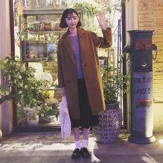 顯瘦長大衣外套毛呢韓版復古雙排扣繭形大衣