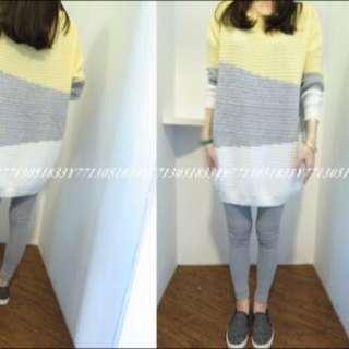 韓國全新撞色針織毛衣