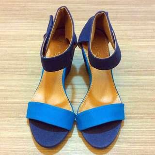全新牛仔藍楔形涼鞋