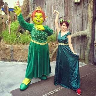 手作DIY 費歐娜公主 史瑞克 Princess Fiona Cosplay 祖母綠及地長洋裝
