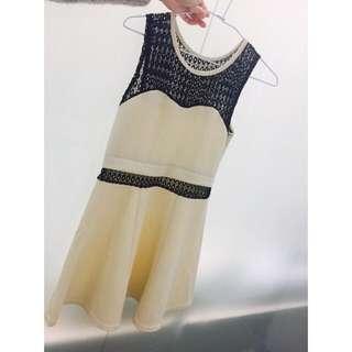 韓版黑網腰間白色洋裝🙆🏻