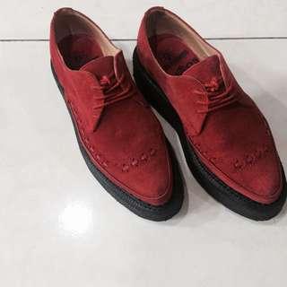 英國品牌George Cox X Chaos聯名款 全紅色麂皮厚底尖頭鞋 Rock/Punk/Vintage