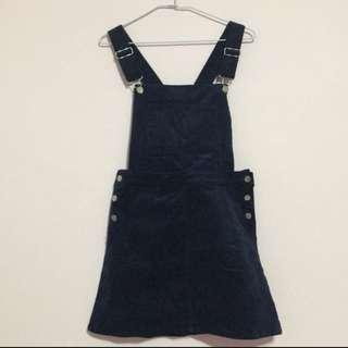 深藍色燈芯絨可拆式吊帶裙