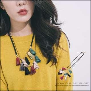 🚚 歐美質感皮繩雙鍊彩色流蘇鎖骨項鍊