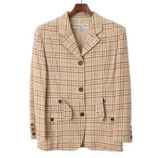 Christian Dior 質感格子西裝復古外套