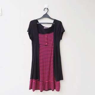 2 in 1 stripes dress