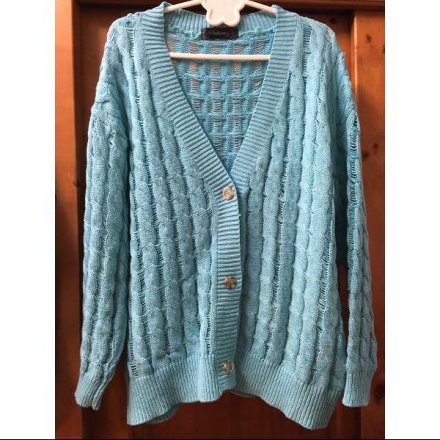 湖水藍針織外套