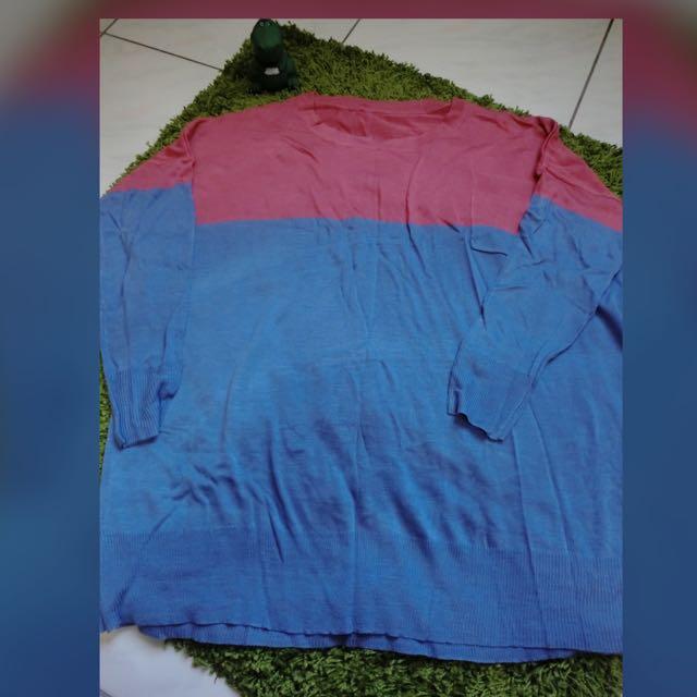 全新-粉紅藍微針織
