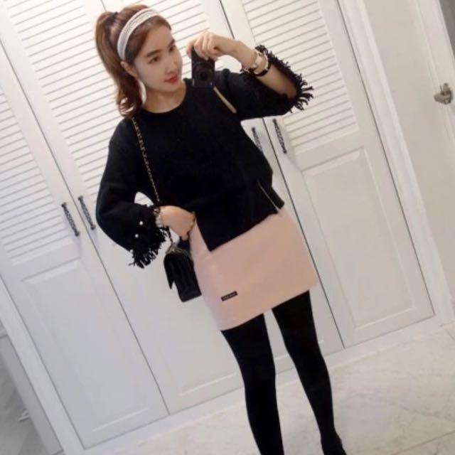 正韓韓國羊絨質感粉嫩短裙 春款