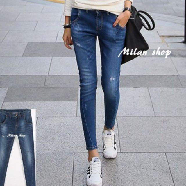 轉賣 Milan Shop☆韓國帶回Korea獨家款 超瘦3D車線微破深藍微垮BF褲