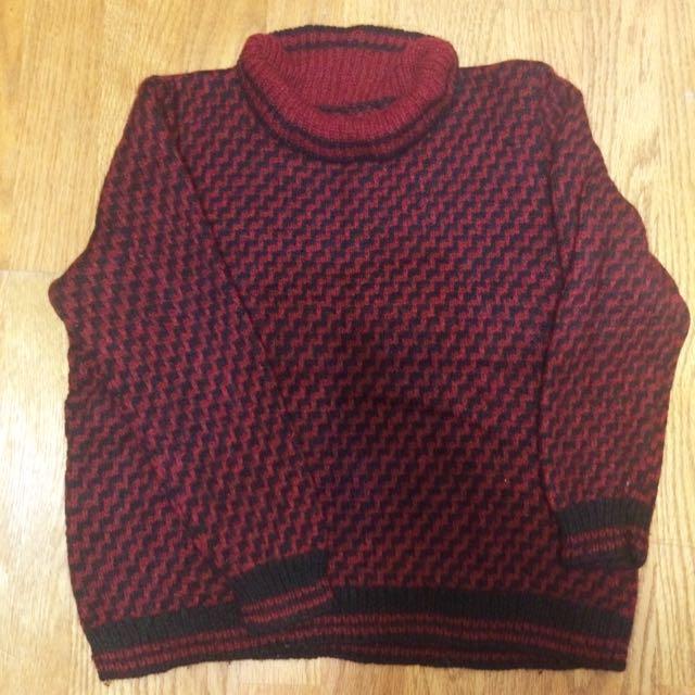 降價‼️紅色的黑色的高領古著毛衣