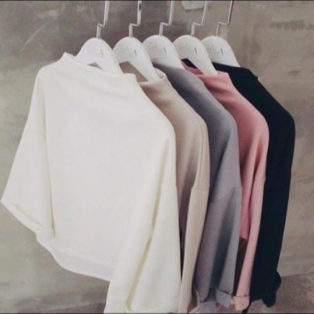 寬袖小立領上衣(粉紅)🎀