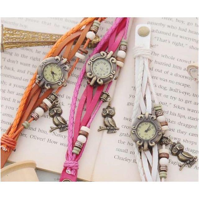 串珠皮繩貓頭鷹腕錶 手錶