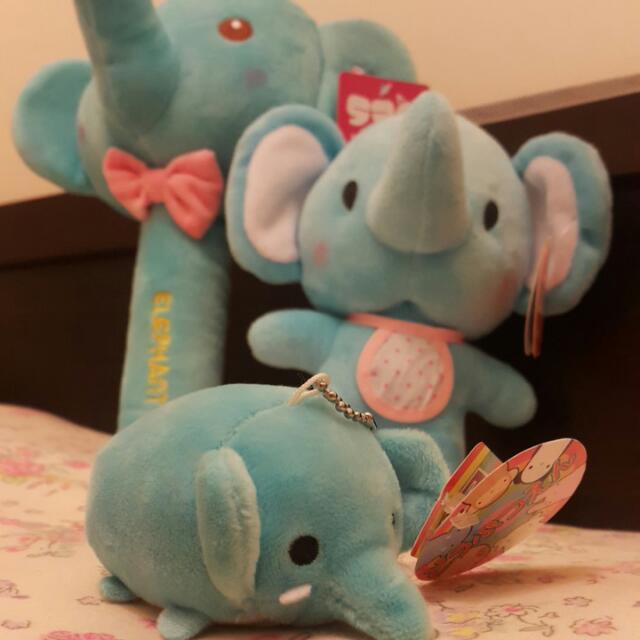 保留-可愛藍色大象寶寶娃娃 吊飾 有聲玩具槌子