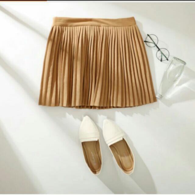 全新 麂皮 百摺裙 圓裙