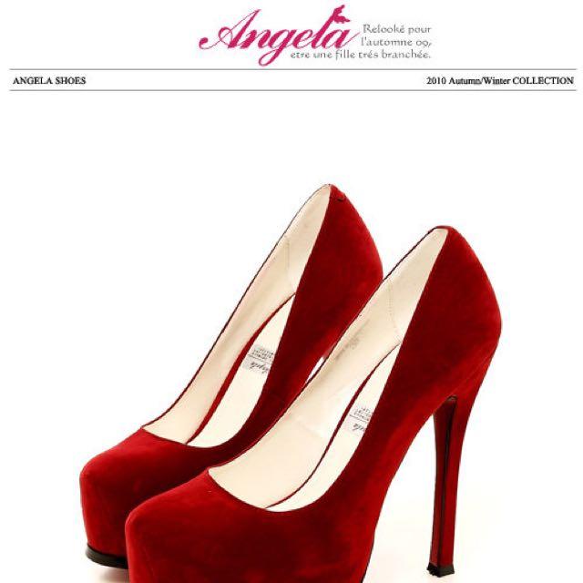 Angela 紅色絨布高跟鞋👠