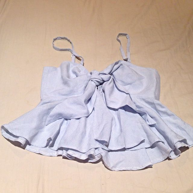 [SOLD] Baby Blue Striped Tie On Bow Crop Top