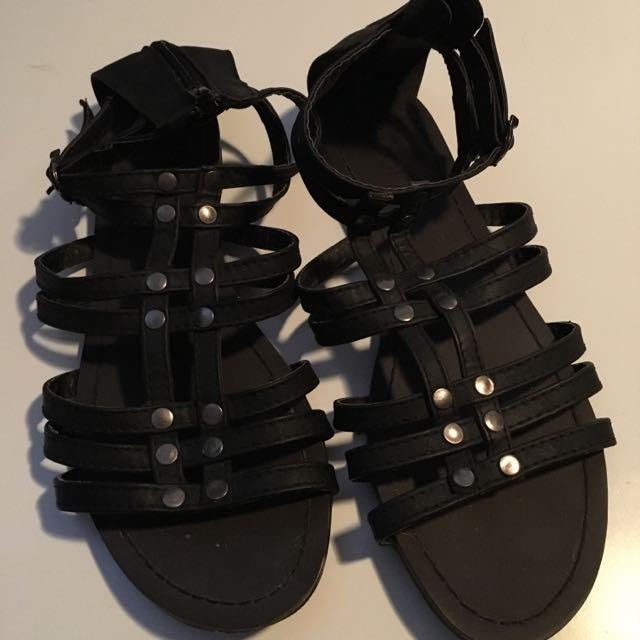 Black Gladiator Flats