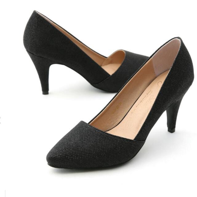 D+at 黑色金蔥閃料鞋口高跟鞋