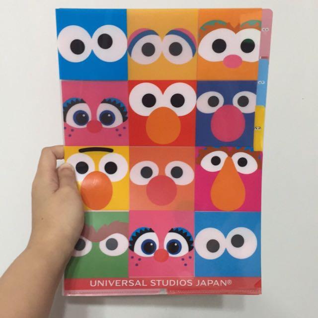 日本 環球影城 Elmo 三層 資料夾