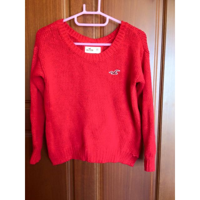 Hollister 蝴蝶結造型針織衫/毛衣 正紅色XS